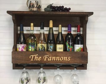 Rustic Wall Mounted Wooden Wine Rack   Personalized Wooden Wine Rack   Housewarming Gift   Wedding Gift   Gift for couples