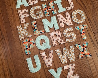 Neutral Magnetic Fabric Alphabet Letters-Unique gift for a baby shower, birthday, or teachers to have in the classroom! READY TO SHIP!