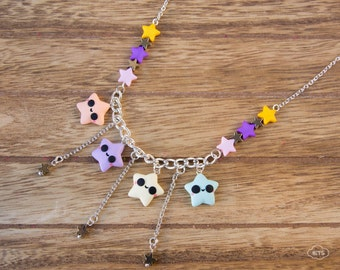 Stars necklace multicharm – kawaii pendant cute charms miniatures star