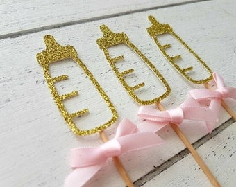 Baby Shower Baby Bottle Cupcake Toppers. Gold Glitter & Pink Ribbons. Baby Shower Party Decorations.Baby Girl or Boy. Custom Glitter Colours