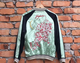 Vintage Reversible Japanese SUKAJAN floral Sakura rayon jacket