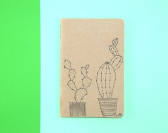 Little cactus notebook, illsutration cactus, indian ink, sketch book, white pages, gift, gift idea, notebook, moleskine, little gift, uniq
