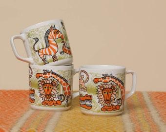 Seventies Animal Coffee Mug // 70s Orange & Green Cup Set // Set of Three Zoo Mugs // Retro Zebra, Giraffe, Crocodile Mugs