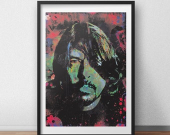 Dave Grohl, Foo Fighters, nirvana, Posters, guitar player gifts, drummers, 90s grunge, abstract room decor, dorm room poster art, Wall Art,