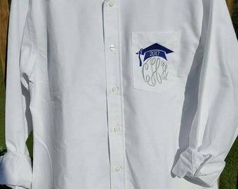 Embroidered Grad Cap & Tassel Monogrammed Button-down white Oxford Shirt to wear to your hair and makeup appts for Prom and Grad Day