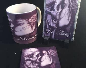 Love always skull gothic couples gift skull mug coffiee mug