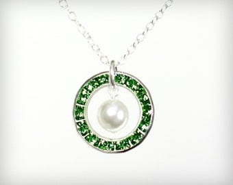 Emerald Necklace.  Emerald and pearl necklace. May birthstones. Bridesmaid Gift.  Delicate sterling silver necklace.  N-086-5