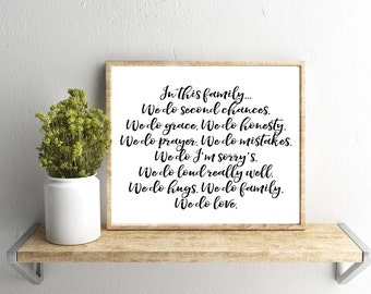 Printable Wall Art, In This Family We Do Quote, Home Decor, Instant Download