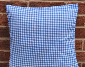 """NEW 16"""" Pink Or Blue Gingham Cushion Cover Shabby Chic, Country Cottage, Vintage Style, Retro"""