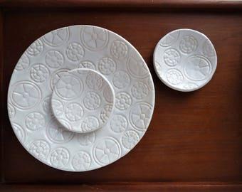 Ceramic Trinket Dish, White Pottery, Tea Serving Dish, White Wedding Gift, Birthday Gift, Modern White Ceramic, Serving Present, House Gift