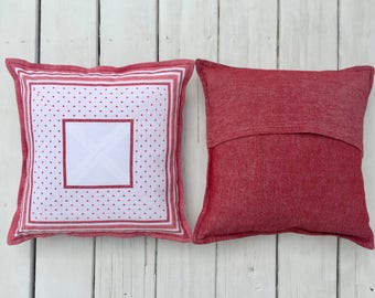 Custom Vintage Fabric Pillow 16 inch/ 40 cm square -- White Pieced Square with Red Polka Dots