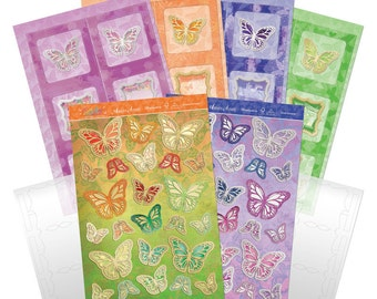 Floating Butterfly Concertina Card KIT - Flutterbye Rainbow Floating Butterfly Card Kit - Hunkydory Floating Concertina - Foiled Butterfly