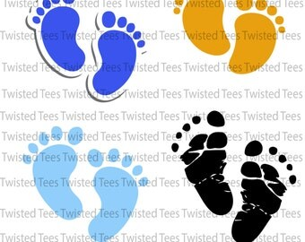 Baby footprint svg file - Baby Feet clipart - baby foot digital vector files svg, png, dxf, eps, ai