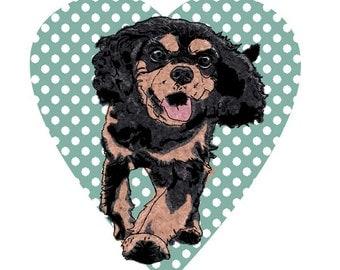 King charles gift, Happy dog print, happy dog art, black & tan king charles, king charles print, black and tan cavalier gift, dog art