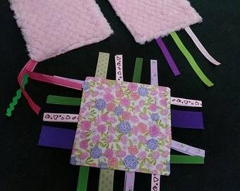 Handmade set of 3 ribbon baby toys, minky and cotton