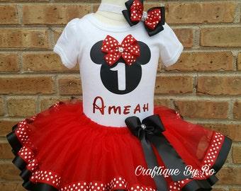 Minnie Mouse Tutu Set - Minnie Mouse Theme Tutu Set - Minnie Ribbon Tutu - Minnie Mouse Birthday Outfit - Minnie Mouse Birthday Tutu