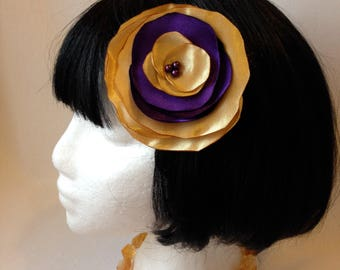 Purple and Gold Satin Flower Hair Clip