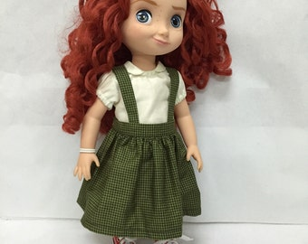 Handmade 16 inch doll clothes - Blouse & Green Checked Jumper