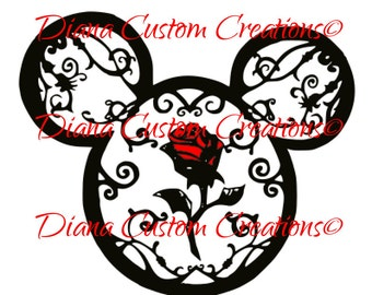 Mickey Head with Beauty and the Beast rose Cricut and Silhouette