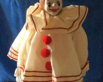 Enesco Pom Pom porcelain and Fabric Clown Doll 1983
