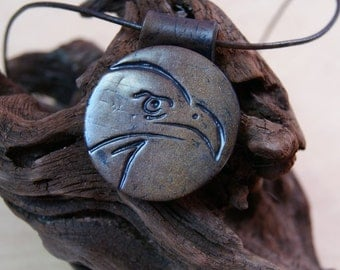 Jewellery for men - Eagle - polymer clay pendant - aged leather head - gift for man