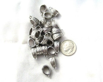 25 Antique Silver Trapezoid Charm Bails 14 x 7.5mm (s10L2)