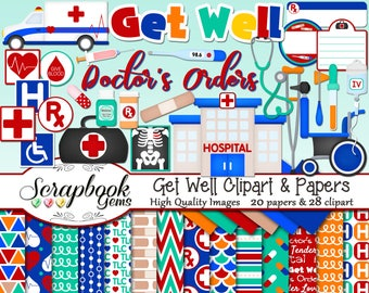GET WELL Hospital Clipart & Papers Kit, 28 png Clip arts, 20 jpeg Papers Instant Download sickness sick doctor medical ambulance wheelchair