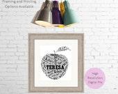 Personalised Apple    Printable Word Art  Gift for School  Teacher Thank You  Bespoke Gift  Word Art Print