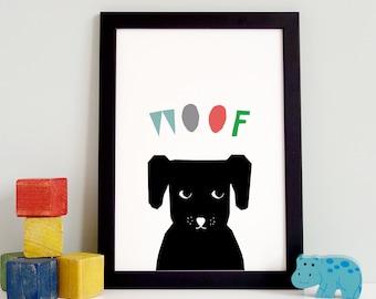 Dog Print, Baby Animal Wall Art, Nursery Wall Art, Nursery Printable Art, Animal Nursery Decor, Gift for Dog Lover, Baby Shower Gift, PDF