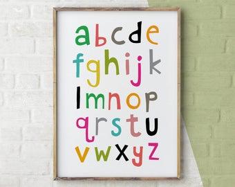 Nursery Wall Decor, Hand Lettered Print, ABC Poster, Hand Lettered Alphabet Print, Alphabet Poster, Printable Alphabet Poster, Digital Print