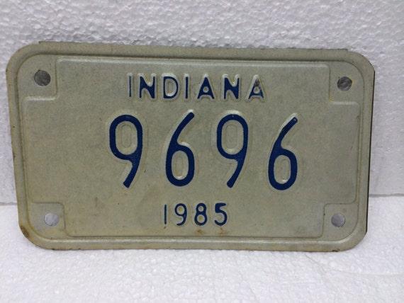 Vintage INDIANA Motorcycle License Plate 1985 Metal White Blue 9696 Man Cave Garage Automobile Decor