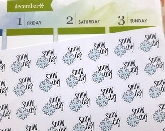 Snow day stickers, planner stickers, snow stickers, weather stickers, snowflake stickers, winter stickers for Erin Condren, Happy Planner