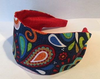 Paisley Headband, Womens Headbands, Wide Headband, Fabric Headband, Lightweight Headband, Girls Headband