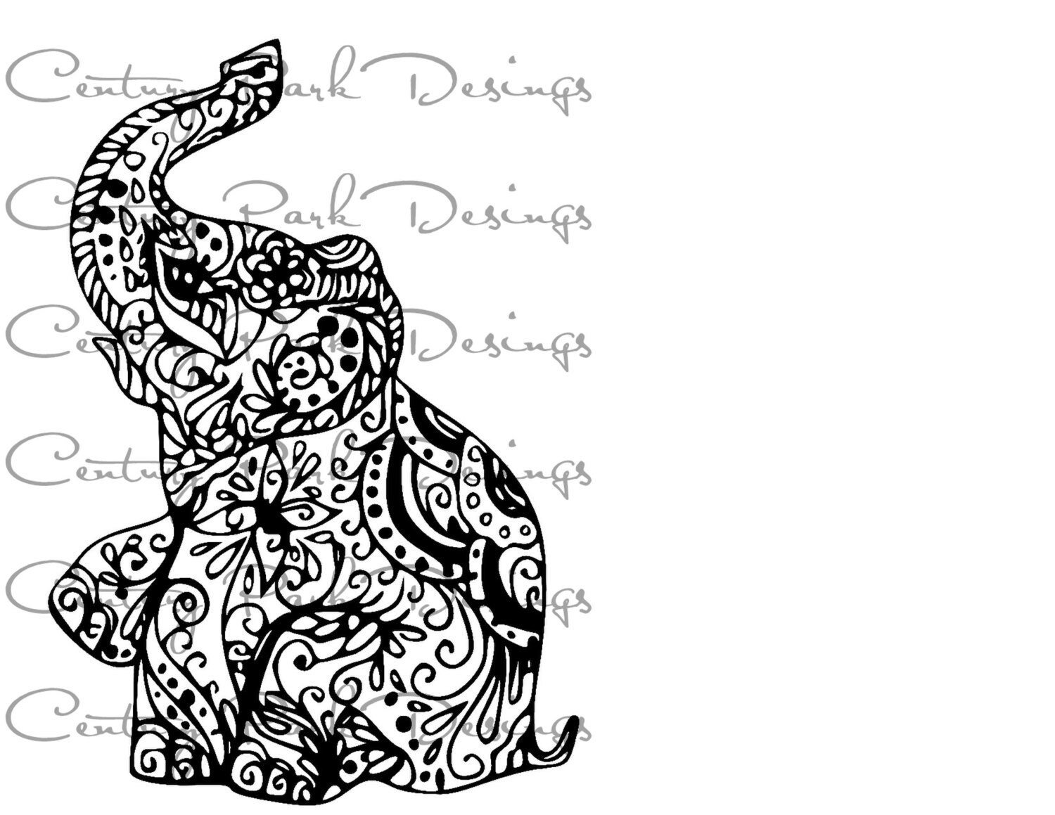 Coloring pages kingdom hearts - Elephant 002 Mandala Svg Jpeg Png Pdf Use With Silhouette Studio And
