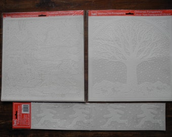 Christmas window sticker tree with snow santaclous ice skating