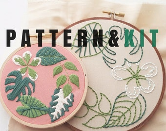 Hand Embroidery KIT: Tropical Plants - Beginner Needlepoint Design - Modern Contemporary Embroidery Pattern - Satin Stitch Plants