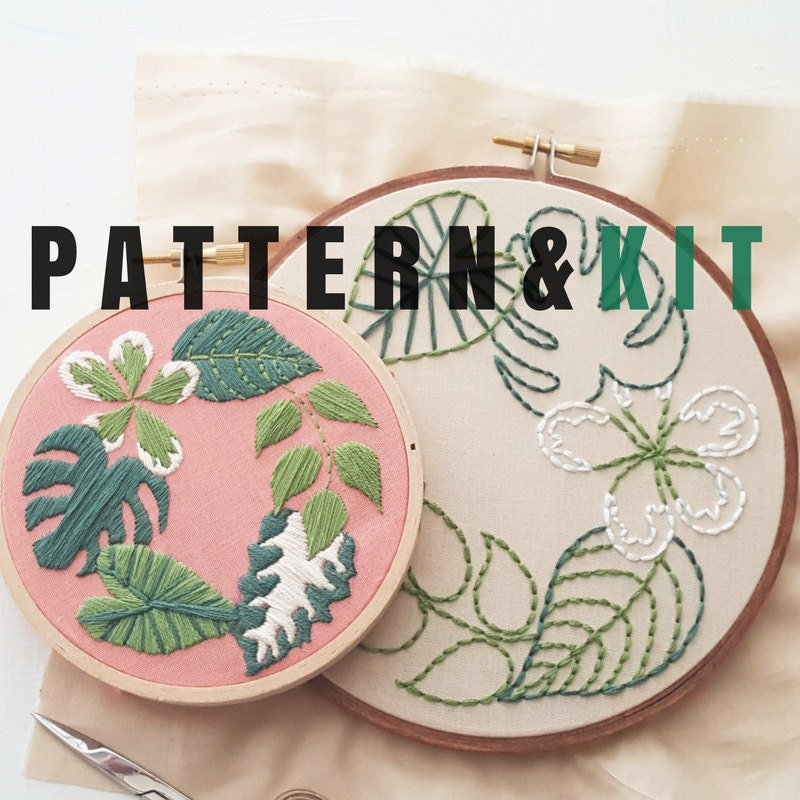 Hand embroidery kit tropical plants beginner
