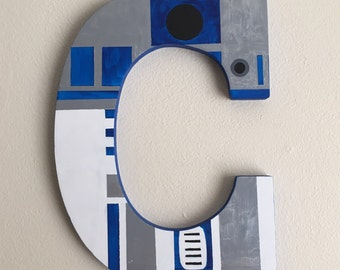 "Star Wars R2D2 9"" Hand-Painted Wall Letters"