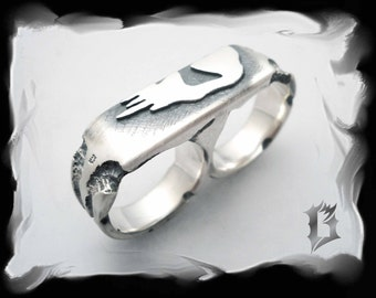 Skull two fingers ring, oxidized 925 sterling silver double ring | #600
