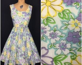 1950s 1960s Purple Yellow Blue Eve Le Coq Floral Sleeveless Swing Day Dress 50s 60s Novelty Print Flower Circle Skirt Sun Dress
