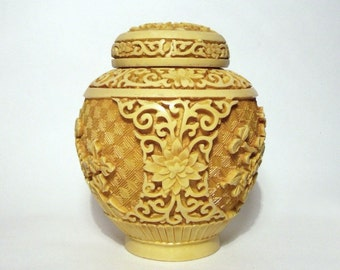 Vintage Yellow Cinnabar Pot Urn Vase Chinese Carved Lacquer Chrysanthemum Oriental Lily Mustard Colour Rare