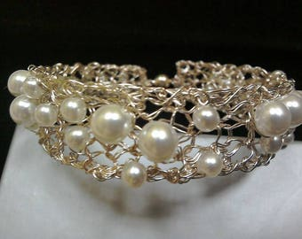 Silver plated knitted bracelet