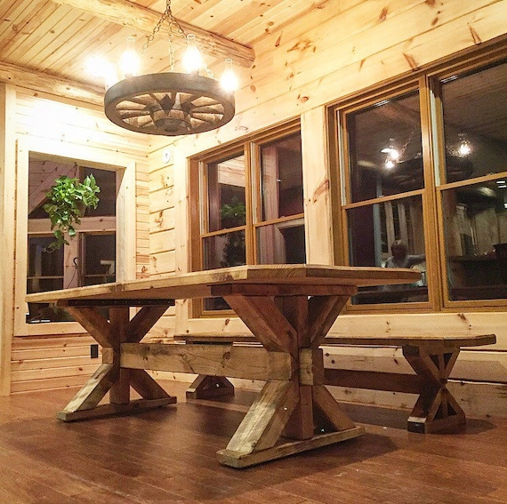 farmhouse trestle table classic rustic design. Black Bedroom Furniture Sets. Home Design Ideas