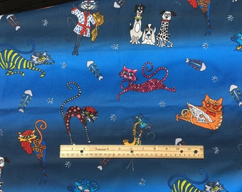 "Cartoon Cats on blue hombre fabric, By the half yard, 44"" wide, 100% cotton, quilting cotton"
