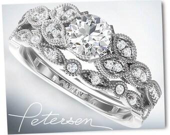 1 CT wedding ring sets, Engagement Ring band set in Solid 10k, 14k 18k White Gold Bridal Wedding ring Set Engagement Set diamond alternative