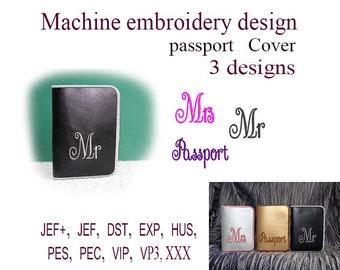 Machine embroidery designs. Mr. Mrs. Passport cover In the Hoop.  embroidery designs.  ITH  Embroidery Design.  File Instant Download.
