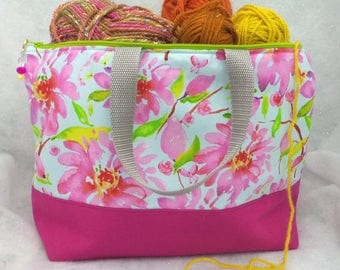 Large 2 Compartment Knitting Bag, Knitting Project  Tote, Knitting Bag, Crochet Project Bag, All Purpose Tote, Flower Tote