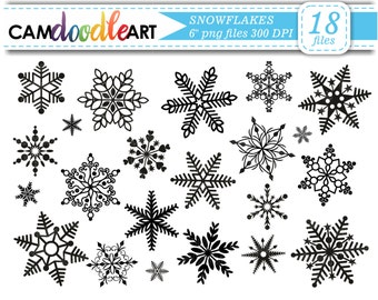 Snowflakes Clipart Collection,Winter Clipart,Black Snowflakes, Christmas Clipart,Scrapbooking Clipart,Snowflake silhouette,png files