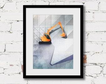 construction art prints, excavator print, digger boys room decor, baby boy nursery, construction art poster, yellow grey boy art truck print