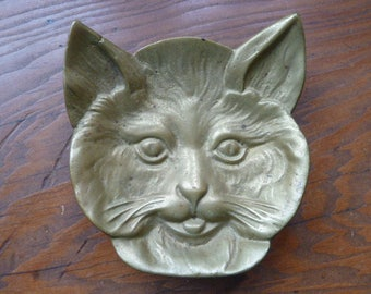 Vintage brass bobcat pin tray card receiver coin holder  cat